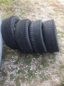 4- P205/55R16 snow tires on rims Sarnia Sarnia Area image 1