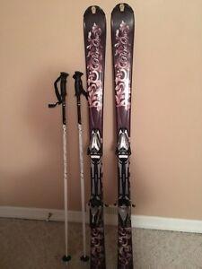 Women's head skis and bindings and Solomon ski poles