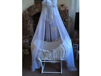 Beautiful Moses basket and canopy