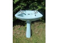 **VINTAGE**RETRO**SKY BLUE**PEDESTAL AND BASIN**NO CHIPS**GOOD CONDITION**WITH TAPS**
