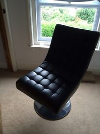 Black faux leather console chair