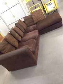 "Brown L Shape fabric sofa ""FREE LOCAL DELIVERY """