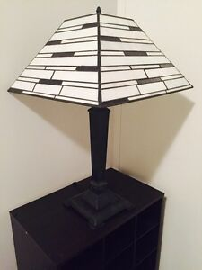 Black and white stained glass table lamp and floor lamp set