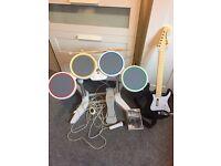 Wii Rockband Drum Kit + Wireless Guitar + Mic + Beatles Game