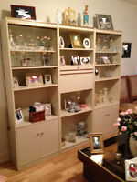 wall unit/etageres - perfect condition cream color