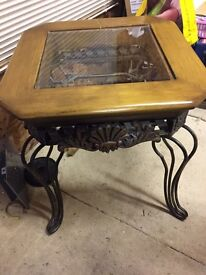 Two metal/wood ornate side tables
