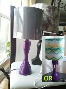 Absolutely the cutest, Purple hour glass table lamp Grey shade