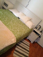 Queen bed, small drawer and night table