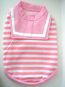 Small Medium Dog Shirt / T-Shirt - Pink & White Stripe