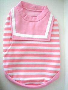 Small Medium Dog Shirt / T-Shirt - Pink & White Stripe