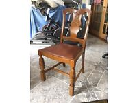 Dark oak and leather chairs x4