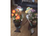 2 artificial flower pots on stand