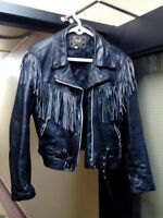 black leather biker jacket /  w frindge