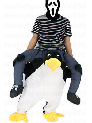 Halloween Carry Penguin Mascot Costume Ride On Me Adults Birthday Party Dress us