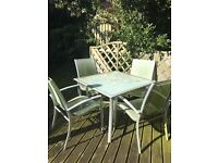 Garden table with 4 chairs & 2 sun loungers