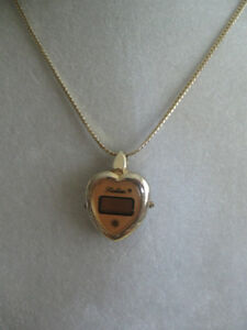 OLD VINTAGE ['60's] HEART-SHAPED GOLD-TONE WATCH NECKLACE