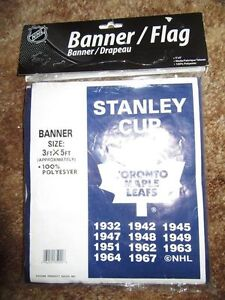 NEW IN PKG. TORONTO MAPLE LEAF STANLEY CUP BANNER/FLAG, 3 FT. X