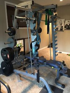 Apex squat rack smith machine with high and low pulley