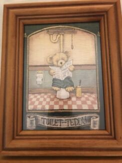 Toilet Teddy framed in real glass top