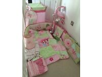 Kidsline Bella large nursery bundle girls pink & green cot set bumper mobile