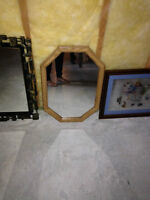 Octagon wood mirror 18 ½ inches by 26 ½ inches