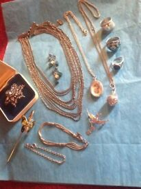 Beautiful Collection Of Antique Silver Hallmarked Jewellery