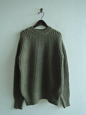 New Sloane Japan Made Khaki Green Pure Wool Knit Jumper RRP$490
