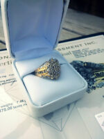 1.10 Carat diamond cluster ring, yellow and white gold