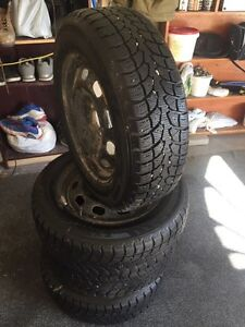 """15"""" Winter Tires With Rims 85% Tread"""