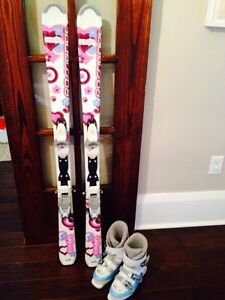 Girls Junior Downhill Skis and Boots Package