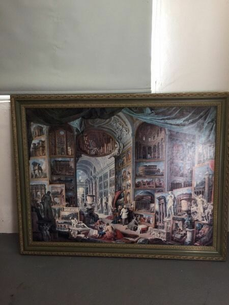 LARGE PAINTING WITH ORNATE FRAME ABSOLUTELY STUNNING PIECE OF ART