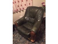Green leather sitting chair.