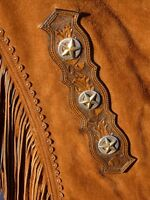 Nice brown Cutting horse show Chaps custom made by Gail Kinsey