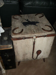REDUCED Decorative Western Wooden Box with Legs $75.00
