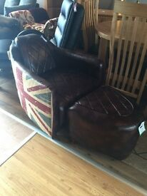 Ex-display***Brown leather armchair and footstool (Union Jack)---ONLY £320---CALL TODAY!!!