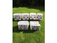 Lazzari Cherry Print white fabric 6 x children storage tote boxes from ASPACE