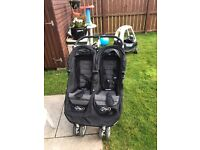 City mini double stroller with buggy board