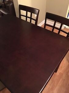 Dark wood table and chair set
