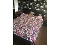 Double leather bed with mattress