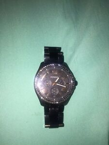 FOSSIL CECILE STAINLESS STEEL WATCH BLACK (female) Cambridge Kitchener Area image 2