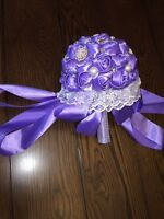 4 Purple Ribbon and Brooch Bouquets $60 each