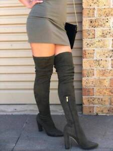 Glamour Women's Suede Boots Olive Khaki Green Size 39 Haymarket Inner Sydney Preview