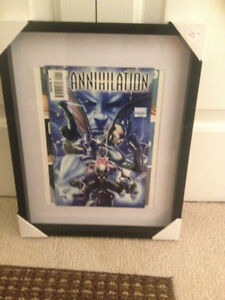 Various Framed comic book collectables