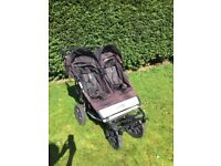 Mount Buggy Duet Double Buggy Stroller Black With Raincover, Good Condition