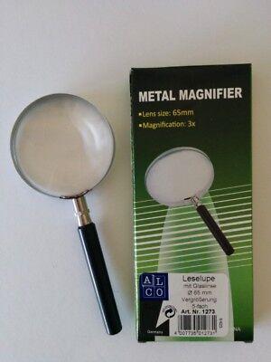 ALCO 1273 Lesehilfe Vergrößerungsglas Lupe Ø 65mm Glas Metall