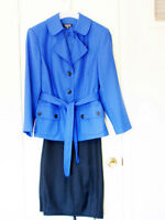 Gorgeous Blue Black Pantsuit w/Jacket  - Size 2XL