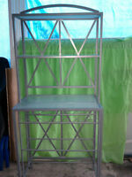 Pewter Bakers Rack with glass shelves and wine rack