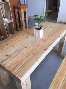 New made to order custom Rustic Table & matching bench seats Nerang Gold Coast West Preview