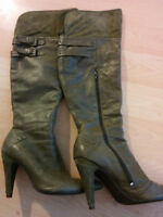 Size 8 Pistacio Green Leather Over The Knee Boots