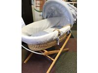 Mamas & Papas Baby Blue Moses Basket with stand